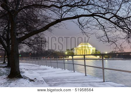 Thomas Jefferson Memorial in winter evening - Washington DC, United States