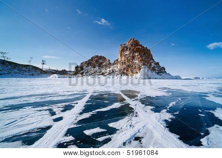 landscape of Lake Baikal in winter