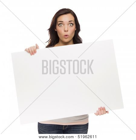 Beautiful Mixed Race Female Holding Blank Sign Isolated on a White Background.