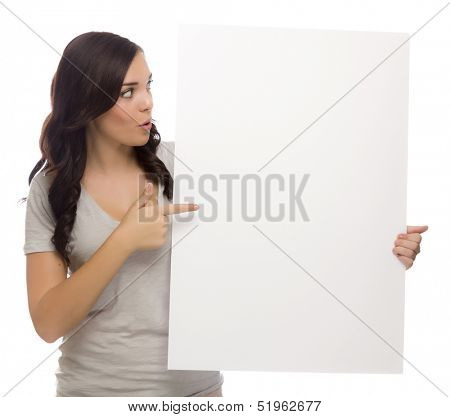 Beautiful Mixed Race Female Holding and Pointing Blank Sign Isolated on a White Background.