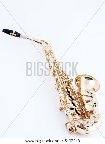 Alto Saxophone On White Background