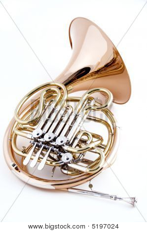 French Horn Isolated On White