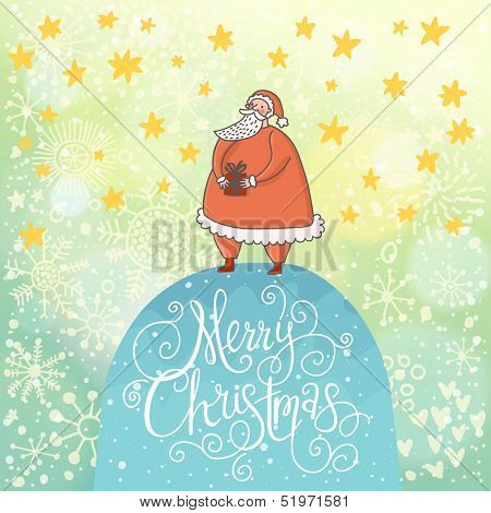 Merry Christmas card in vector. Funny Santa Claus with gift under snowfall made of hearts and stars
