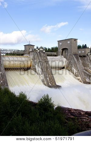 Spillway On Hydroelectric Power Station Dam In Imatra