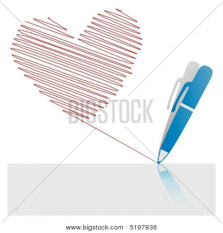 Pen Icon Drawing Red Ink Heart On Paper