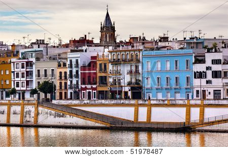Saint Peter Church Cityscape River Guadalquivr Morning Seville Andalusia Spain