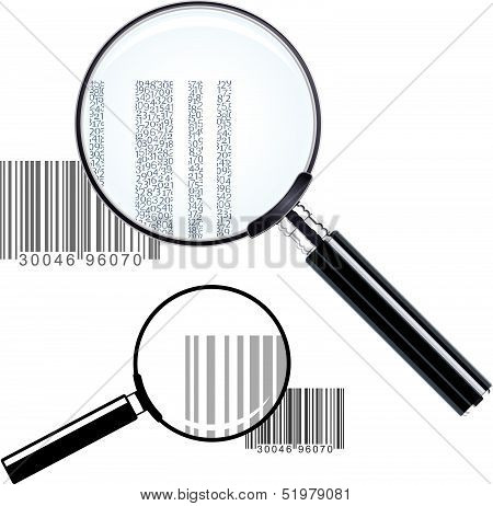 Two magnifying glasses over bar codes