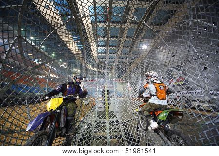 MOSCOW - MAR 23: Two stuntmen  before a riding inside a mesh ball on Show Monster Mania in Olimpiyskiy in March 23, 2013 in Moscow, Russia.