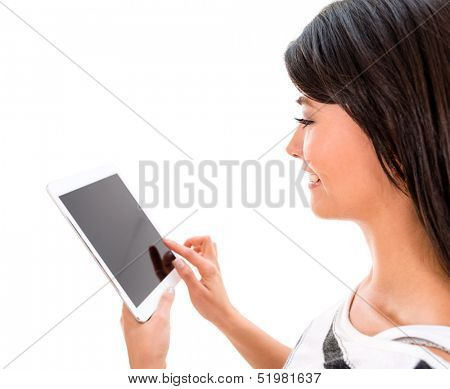Woman using app on a tablet - isolated over a white background