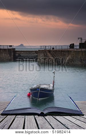 Creative Concept Pages Of Book A Traditional Cornish Fishing Village Before Sunrise In Cornwall Engl
