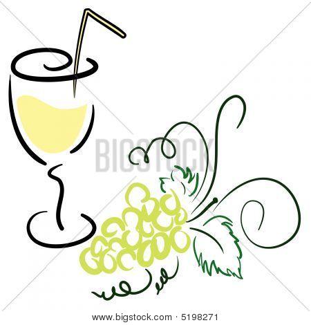 Trauben mit einem Glas