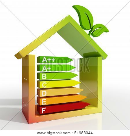 Energy Efficiency Rating Icon Showing Green House