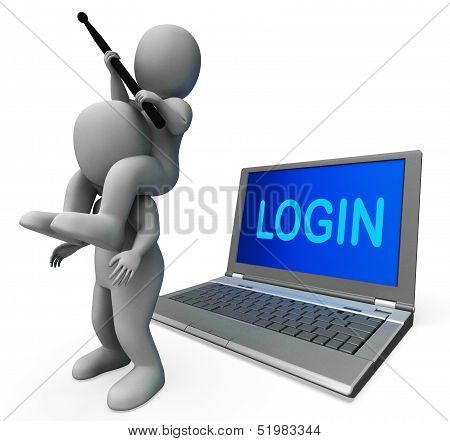 Login Characters Laptop Shows Username Signing In Or Enter