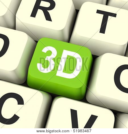 3D Key Shows Three Dimensional Printer Or Font