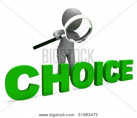 Choice Character Shows Choices Dilemma Or Options