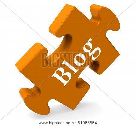 Blog On Puzzle Shows Blogging Or Weblog Websites