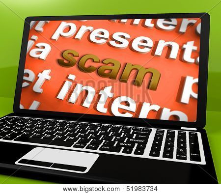 Scam Laptop Shows Scheming Theft Deceit And Fraud Online