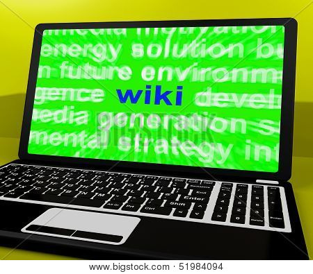 Wiki Laptop Shows Online Websites Knowledge Or Encyclopedia On Internet