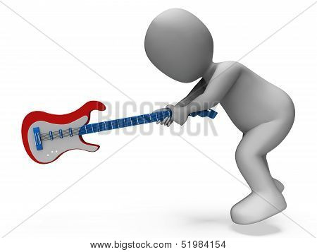 Angry Aggressive Guitarist Smashing Guitar Shows Rocker Rock Music