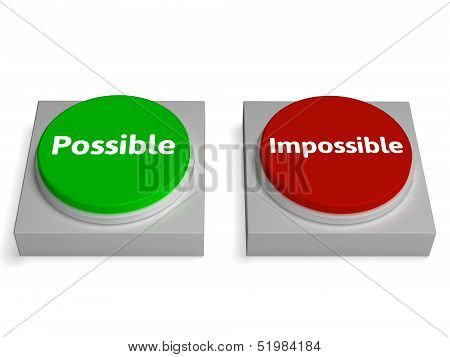 Possible Impossible Buttons Shows Optimist Or Pessimist