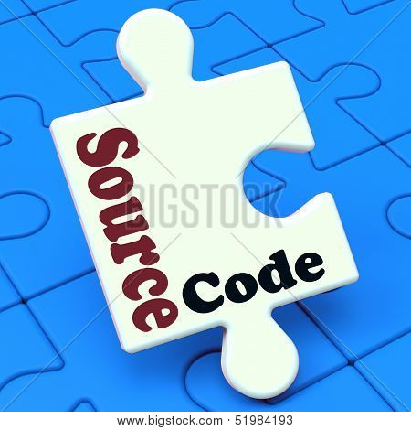 Source Code Puzzle Shows Software Program Or Programming