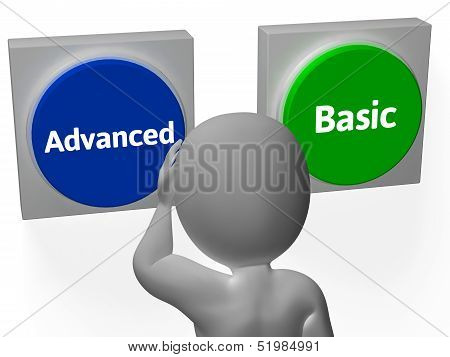 Advanced Basic Buttons Show Advancement Or Basics