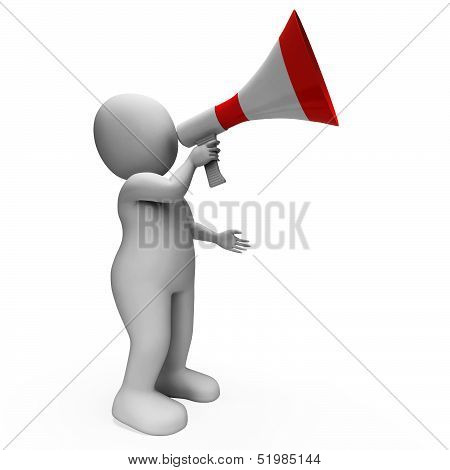 Megaphone Character Shows Announcements Proclaiming And Announcing