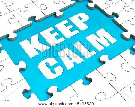 Keep Calm Puzzle Shows Calmness Relax And Composed