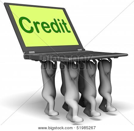 Credit Laptop Characters Show Borrowing Or Loan For Purchasing