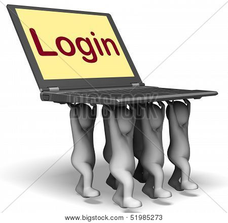Login Characters Laptop Shows Website Signing In Or Enter
