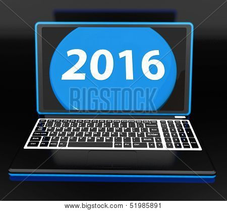 Two Thousand And Sixteen On Laptop Shows New Year Resolution 2016