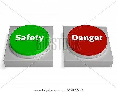 Danger Safety Buttons Show Safe Or Harmful