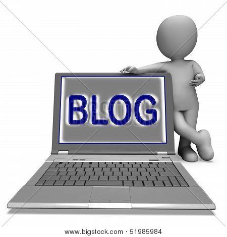 Blog Laptop Shows Blogging Or Weblog Internet Website