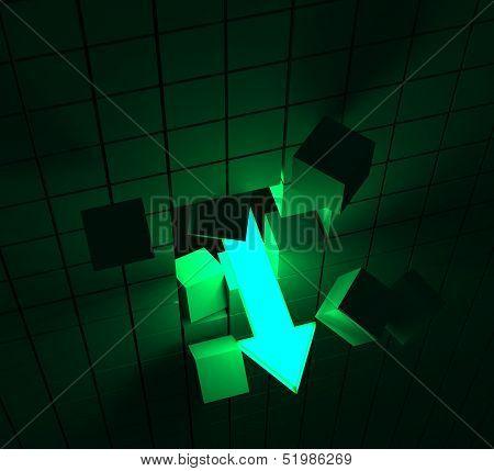 Downward Arrow Shows Decline Or Downturn