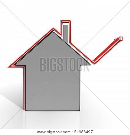 House Icon Shows Home Price Increase