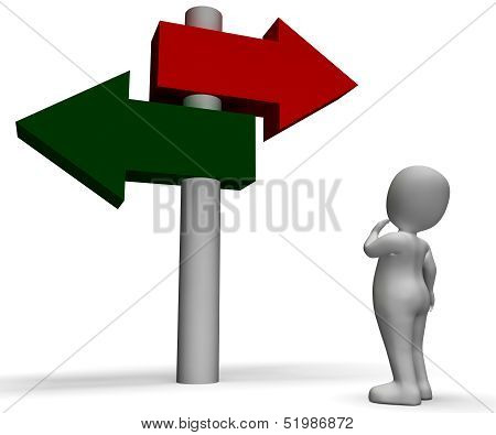 Signpost Shows Confusion Or Dilemma
