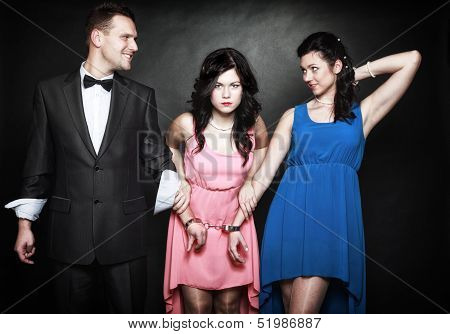 Marital Infidelity Concept. Love Triangle Passion Hate