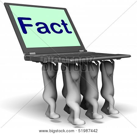 Fact Characters Laptop Shows Truth Facts And Knowledge