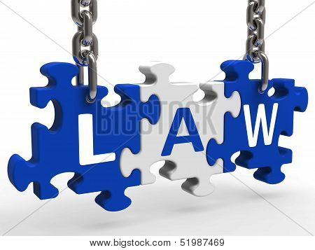 Law Puzzle Means Legally Lawful Statute Or Judicial.
