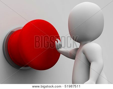 Man Pushing Blank Red Button Shows Control
