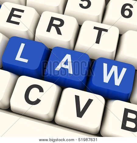 Law Key Shows Legal Or Judicial.