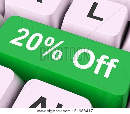 Twenty Percent Off Key Means Discount Or Sale.