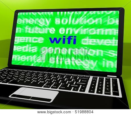Wifi Laptop Shows Hotspot Wi-fi Access Or Internet Connection