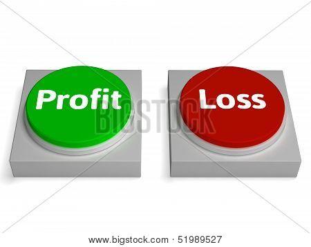 Profit Loss Buttons Show Revenue Or Deficit