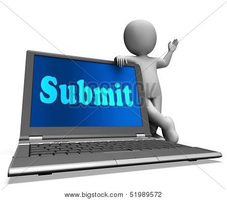 Submit Laptop Shows Submitting Submissions Or Applications