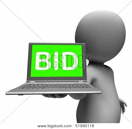 Bid Laptop Character Shows Bids Bidding Or Auction Online