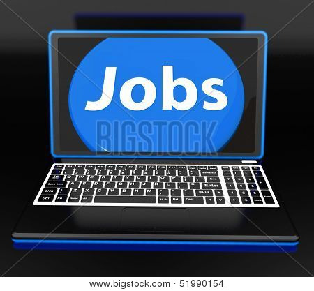 Jobs On Laptop Shows Unemployment Jobless Or Hiring Online
