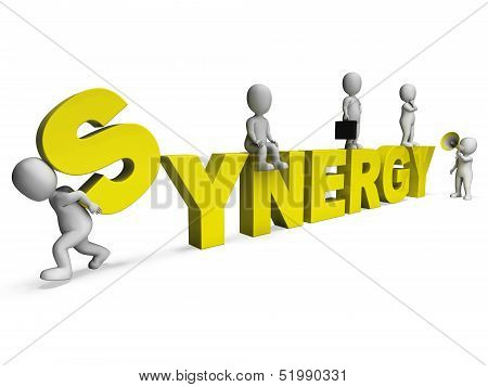 Synergy Characters Shows Teamwork Collaboration Team Work
