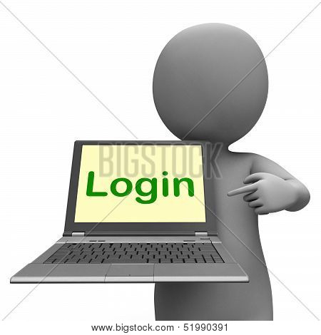 Login Character Laptop Shows Website Sign In Or Signin