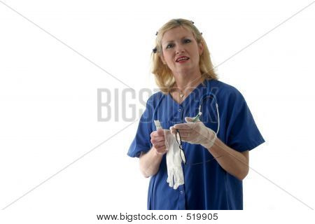 Nurse Putting On Latex Gloves Ver2